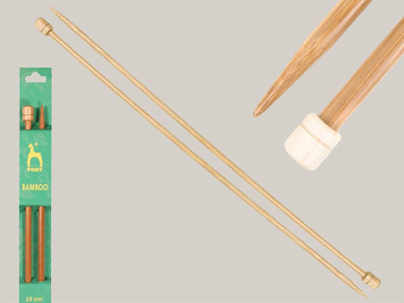 Aguja de tricotar de 5mm x 33cm, Bambú, Ref 63531