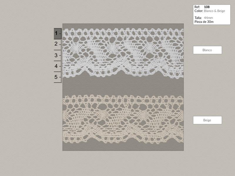 Puntilla de hilo, Blanco y beige, Ref 108