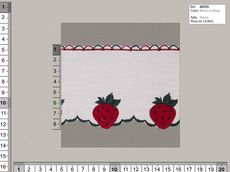 Tira bordada, Blanco con fresas bordadas, Ref 60535