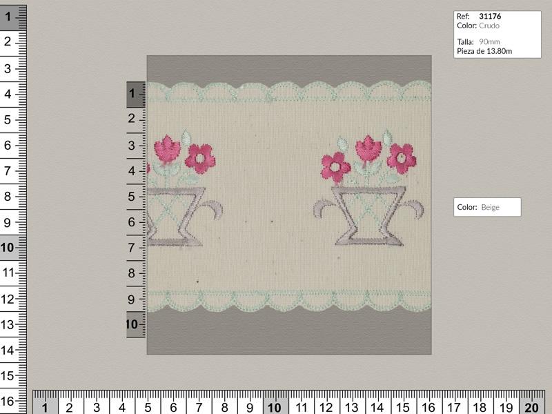 Tira bordada, Fondo blanco con flores en rojo, ref 31176