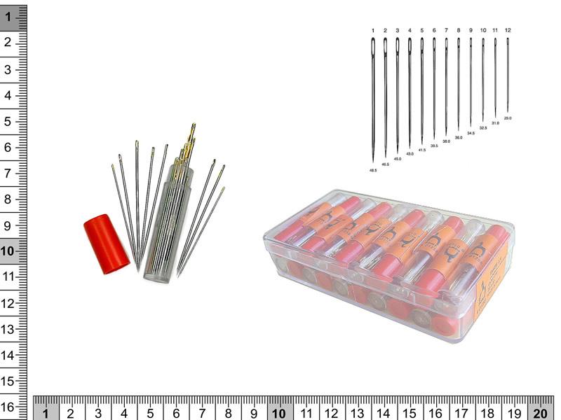 Agujas de coser a mano, en tubos de 20 agujas, ref 01257
