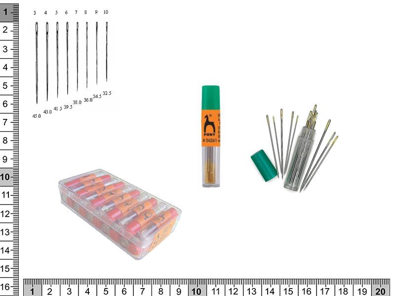 Agujas de coser a mano, ojo largo, en tubos de 20 agujas, ref 04261