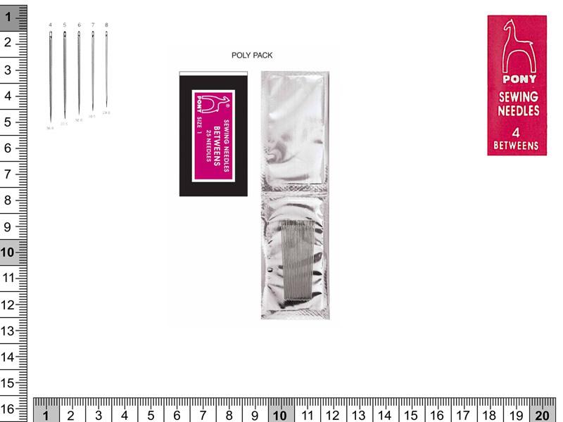 Agujas cortas para sastre, betweens, PONY, Ref 03104+