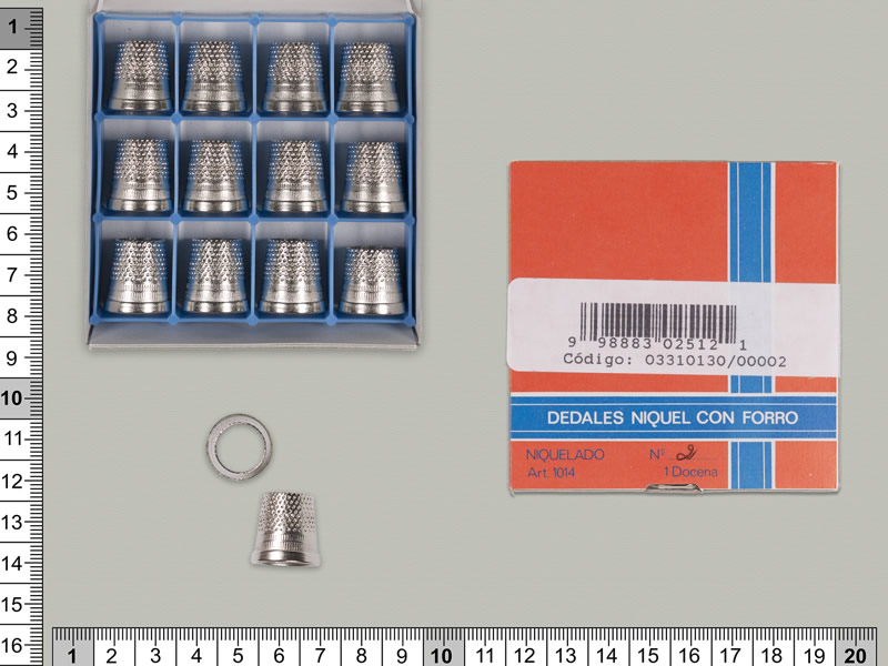 Dedal latón de sastre, cajas de 12 unidades, DAMA, ref 1013