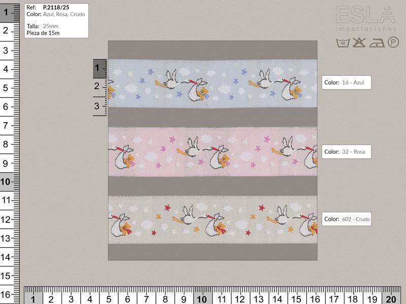 Tapacosturas cigüeña, 3 colores, ref P.2118/25