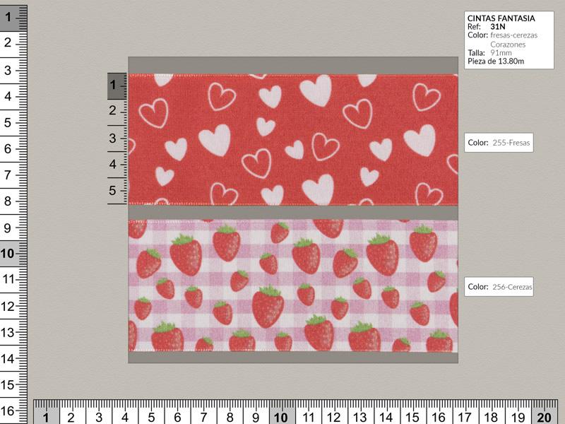 Cinta fantasia, disponible en 3 colores, fresas, cerezas, corazones, ref 31N