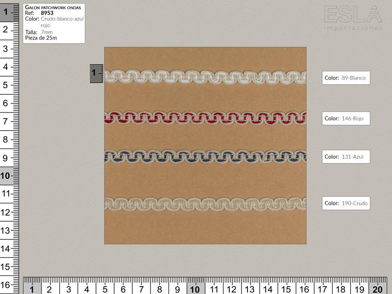 Galón patchwork ondas,blanco,rojo,azul,crudo, ref 8953