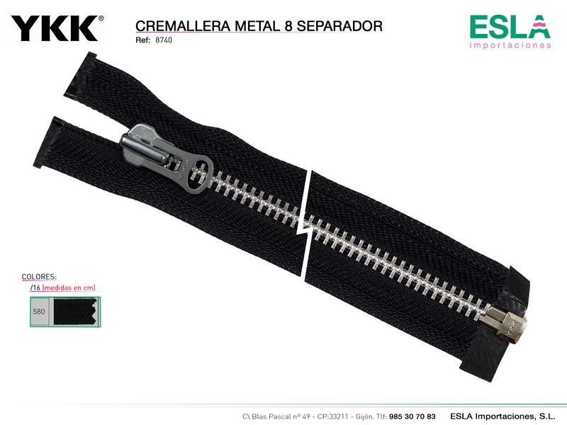 Cremallera metal 8 separador, Motorista, YKK, Ref 8740
