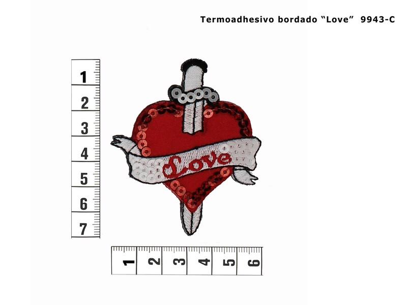 Termoadhesivo bordado love brillo 9943-C