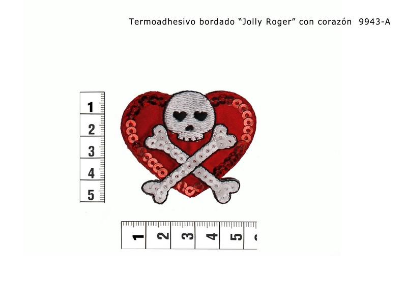 Termoadhesivo bordado jolly roger corazón 9943-A