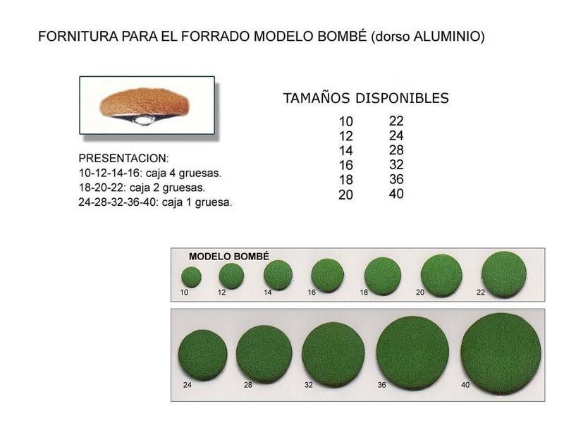 Fornitura forrado modelo bombé dorso aluminio