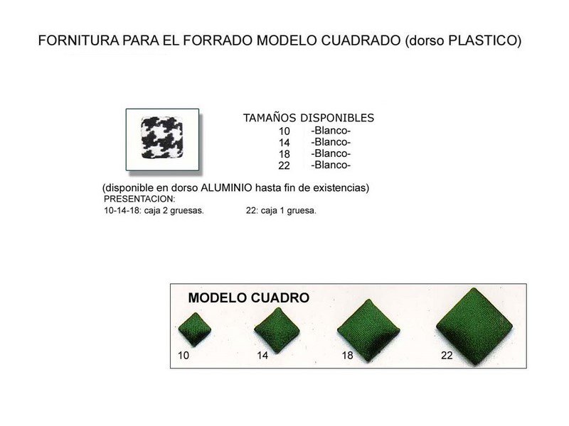 Fornitura forrado modelo cuadrado