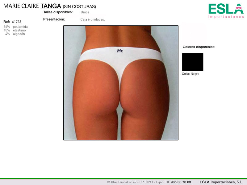 Tanga liso, Sin costuras, Marie Claire, Ref 61753