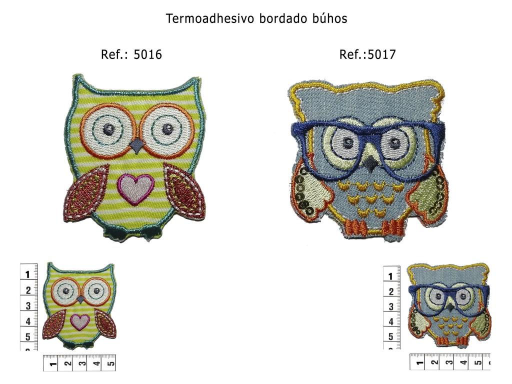 Termoadhesivo bordado búhos de colores 5016 y 5017