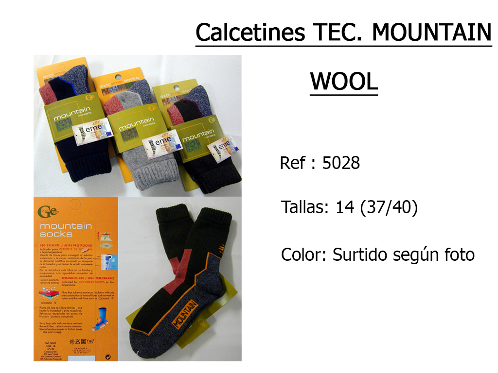 CALCETINES tecnologia mountain wool 5028