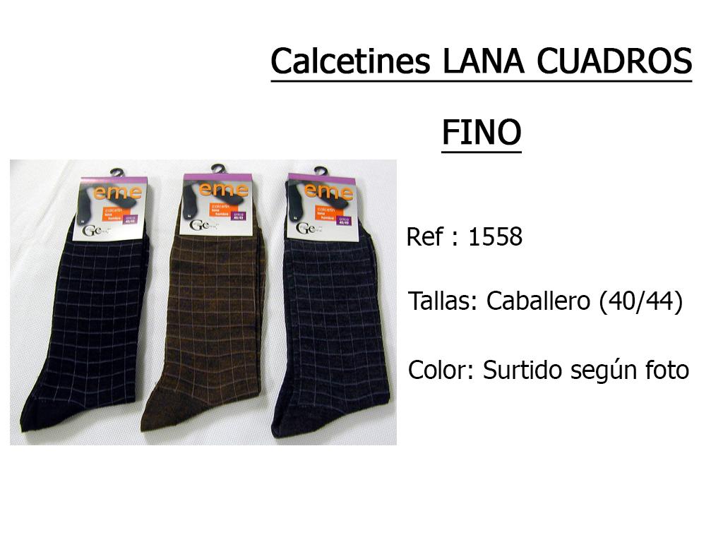 CALCETINES lana cuadros fino 1558