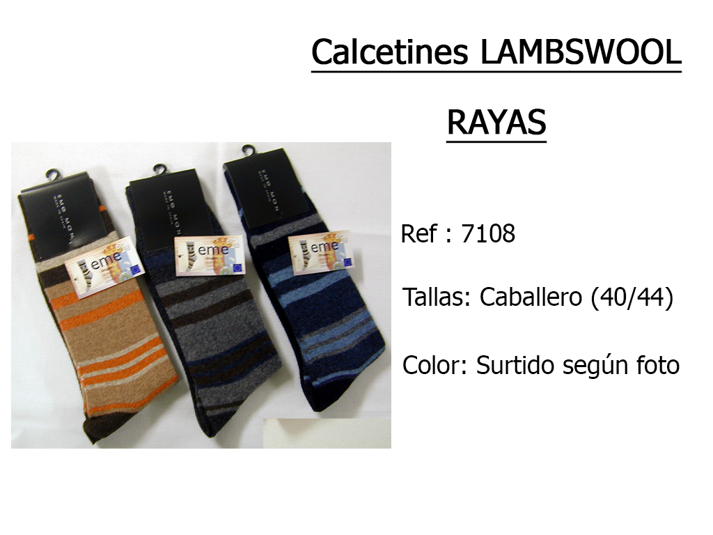CALCETINES lambswool rayas 7108