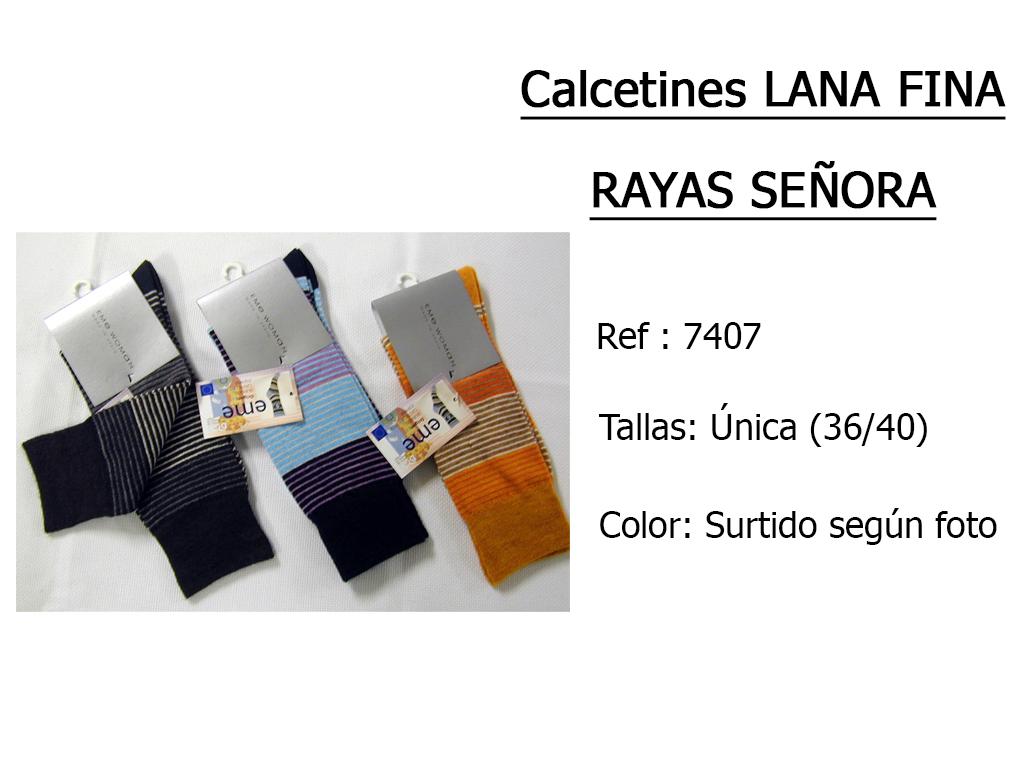 CALCETINES lana fina rayas senora 7407