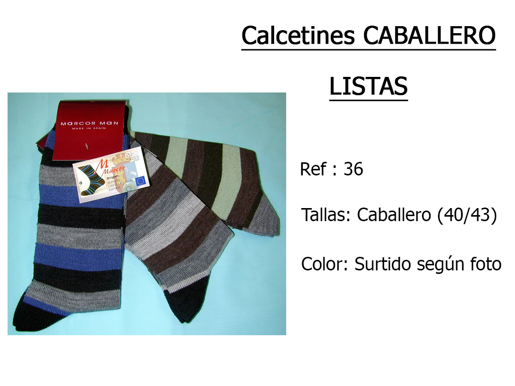 CALCETINES caballero listas 36