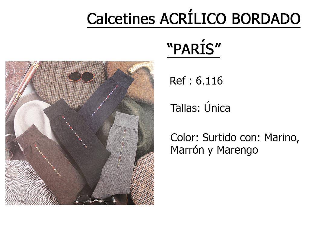CALCETINES acrilico bordado paris 6116