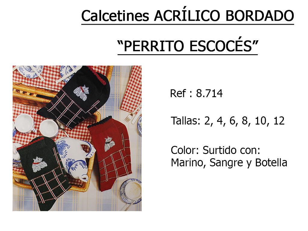CALCETINES acrilico bordado perrito escoces 8.714