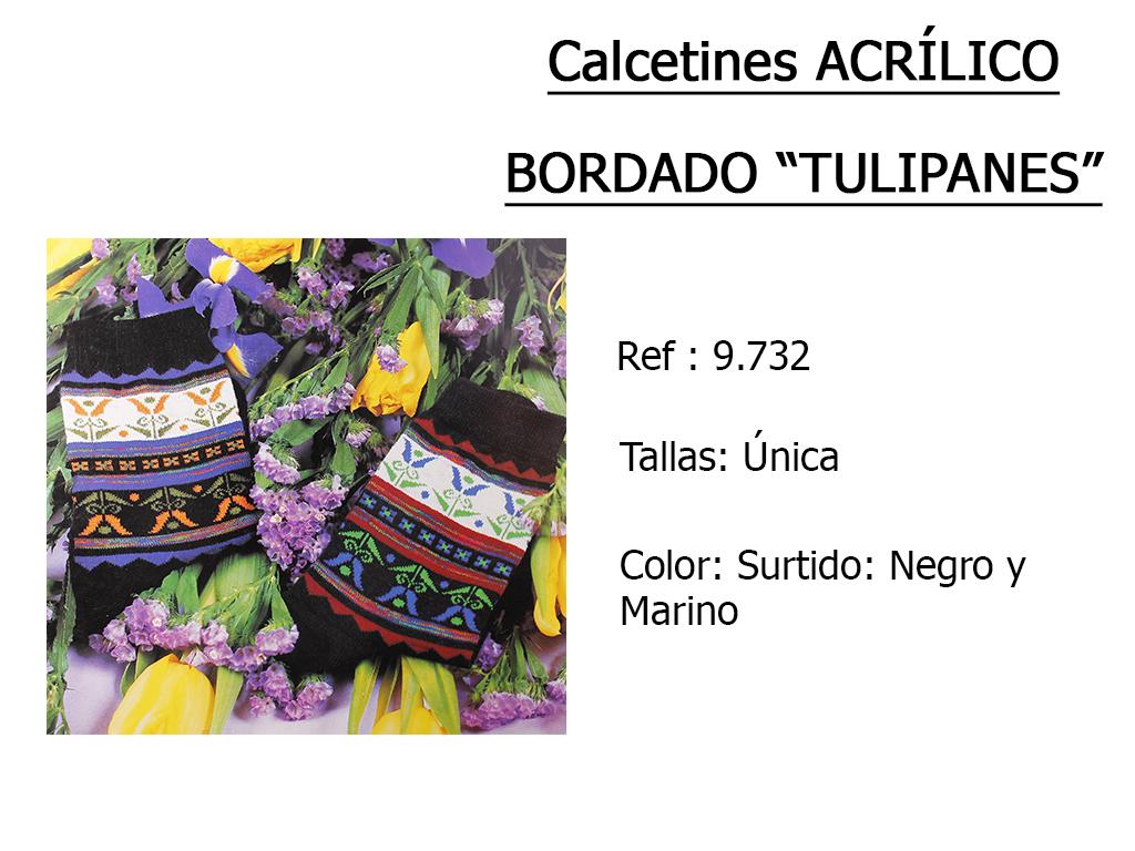 CALCETINES acrilico bordado tulipanes 9732