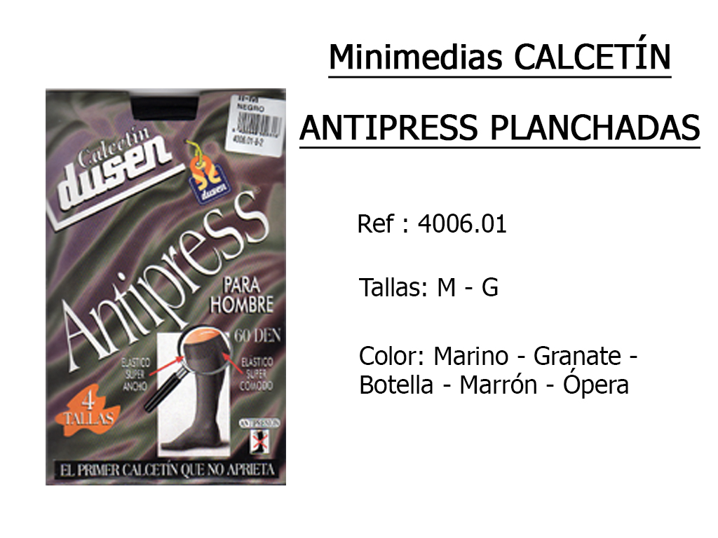 MINIMEDIAS calcetin antipress planchadas 400601