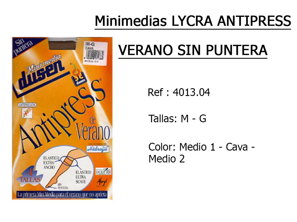 MINIMEDIAS lycra antipress verano sin puntera 401304