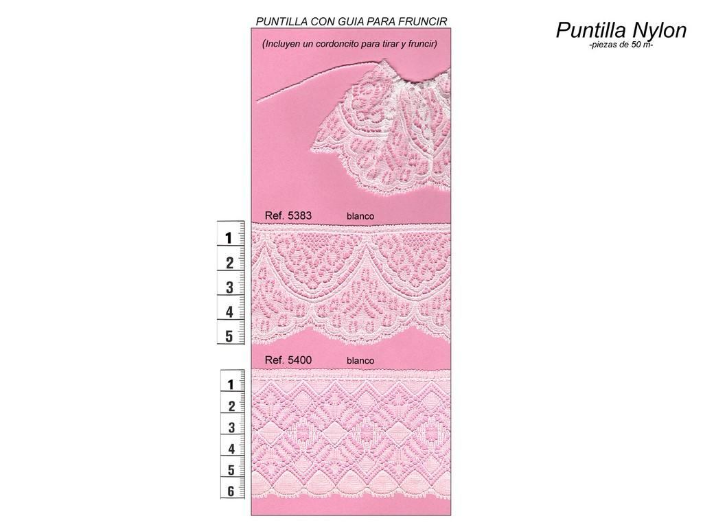 Puntilla nylon lisa para fruncir 5383 y 5400