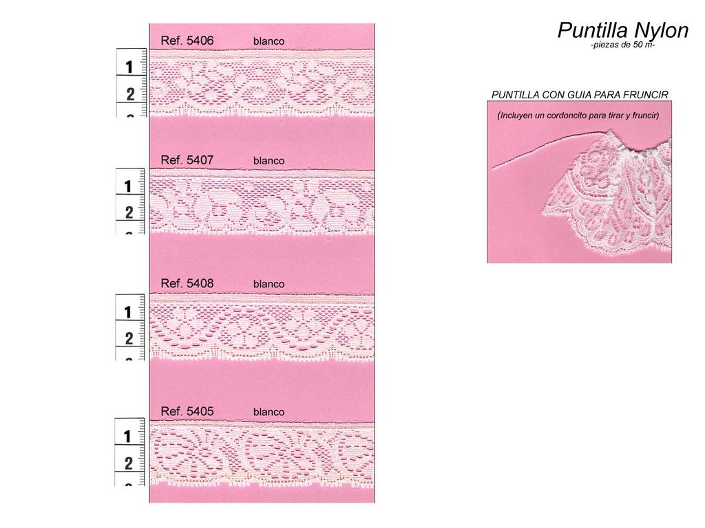 Puntilla  nylon para fruncir 5406, 5407, 5408 y 5405