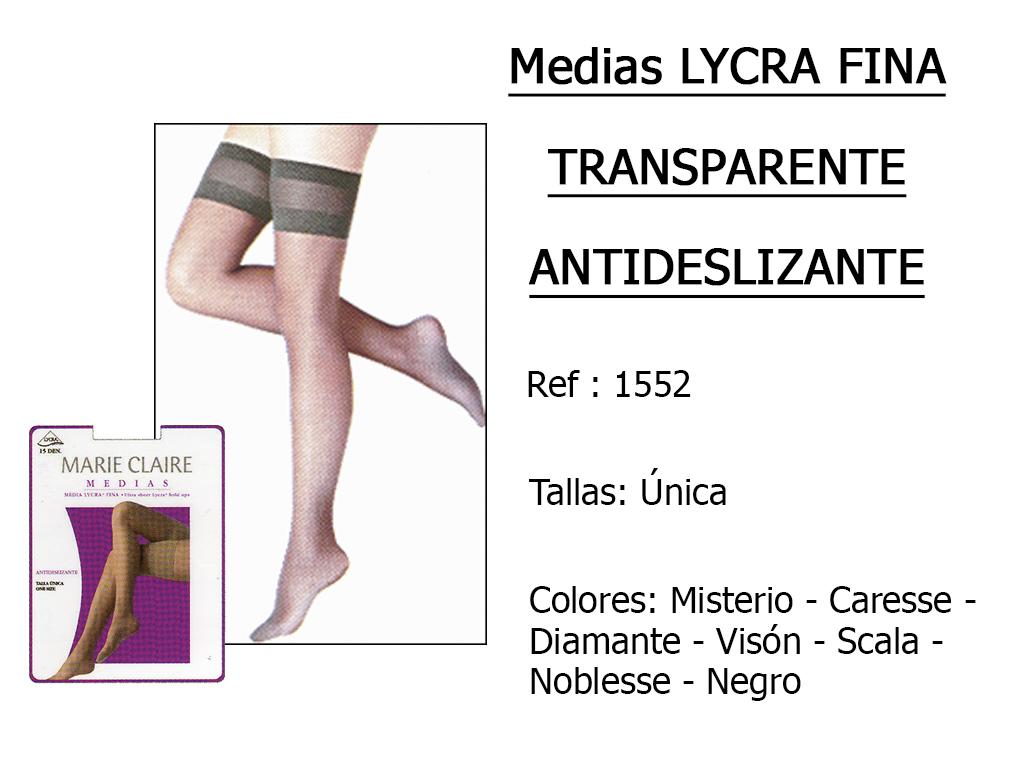 MEDIAS lycra fina y transparente antideslizante 1552