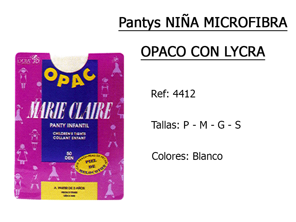 PANTYS nina microfibra opaco con lycra 4412