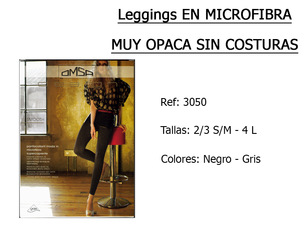 LEGGINGS en microfibra muy opaca sin costuras 3050