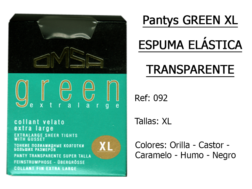 PANTYS green xl espuma elastica transparente 092