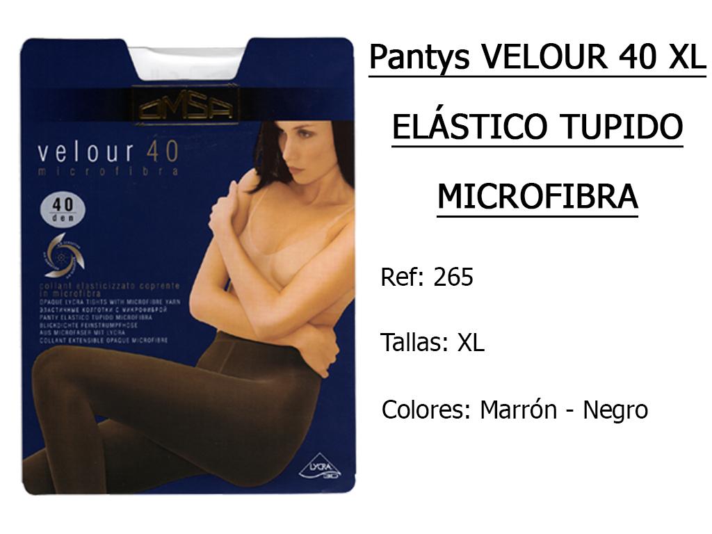 PANTYS velour 40 xl elastico tupido microfibra 265
