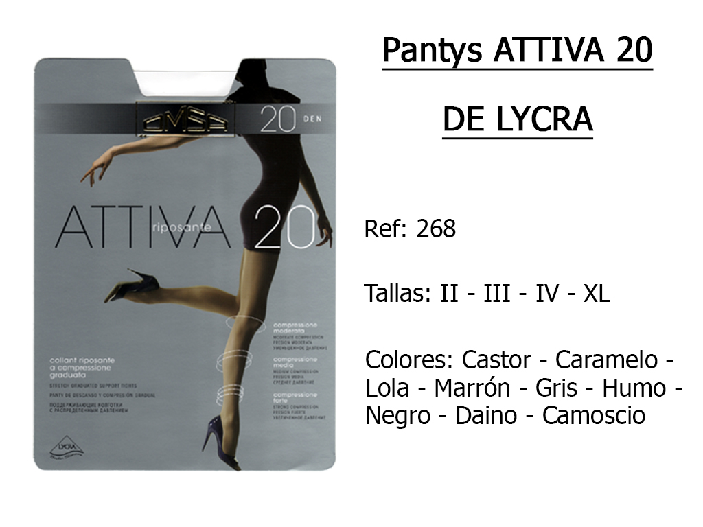 PANTYS attiva 20 de lycra 268
