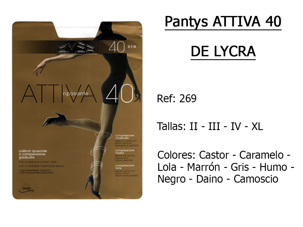 PANTYS attiva 40 de lycra 269