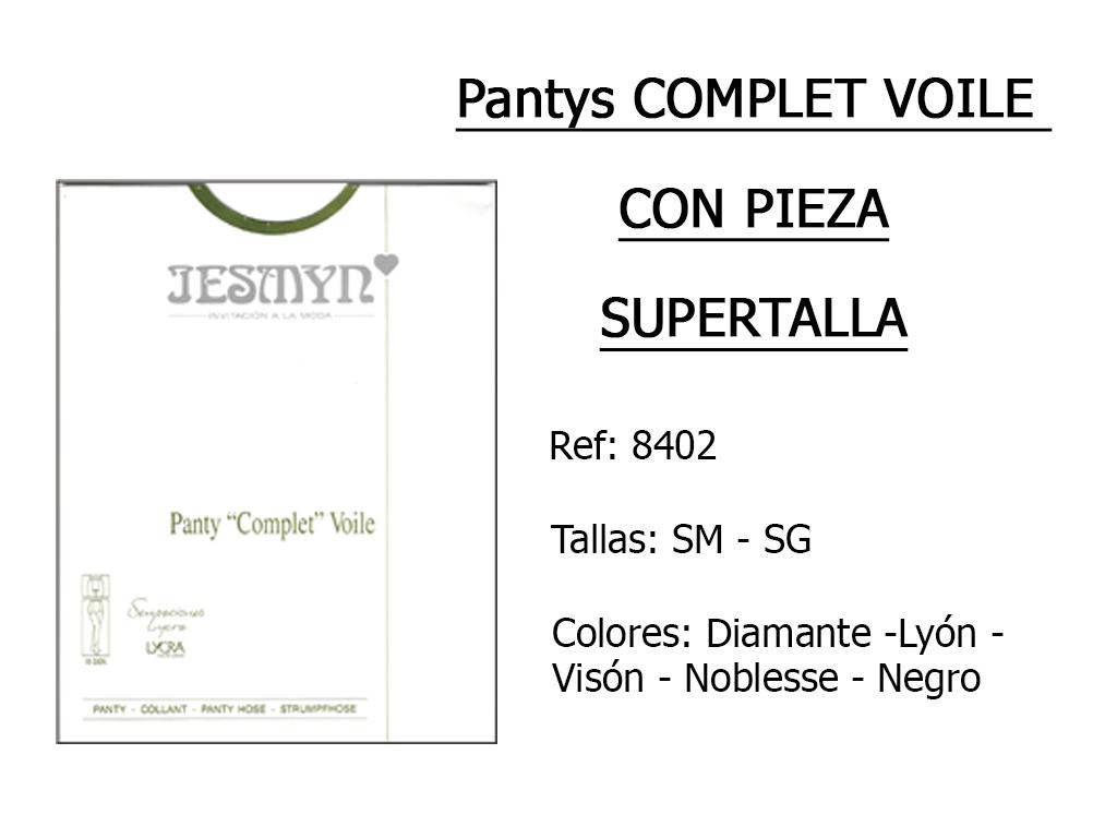 PANTYS complet voile con pieza supertalla 8402