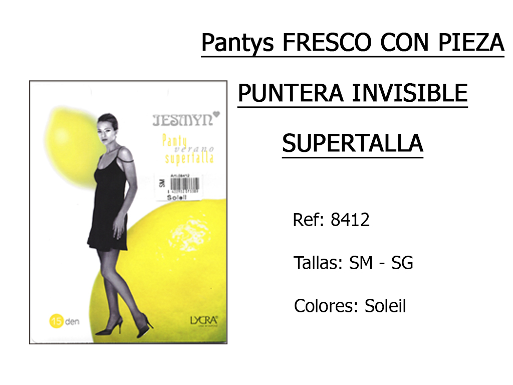 PANTYS fresco con pieza puntera invisible supertalla 8412
