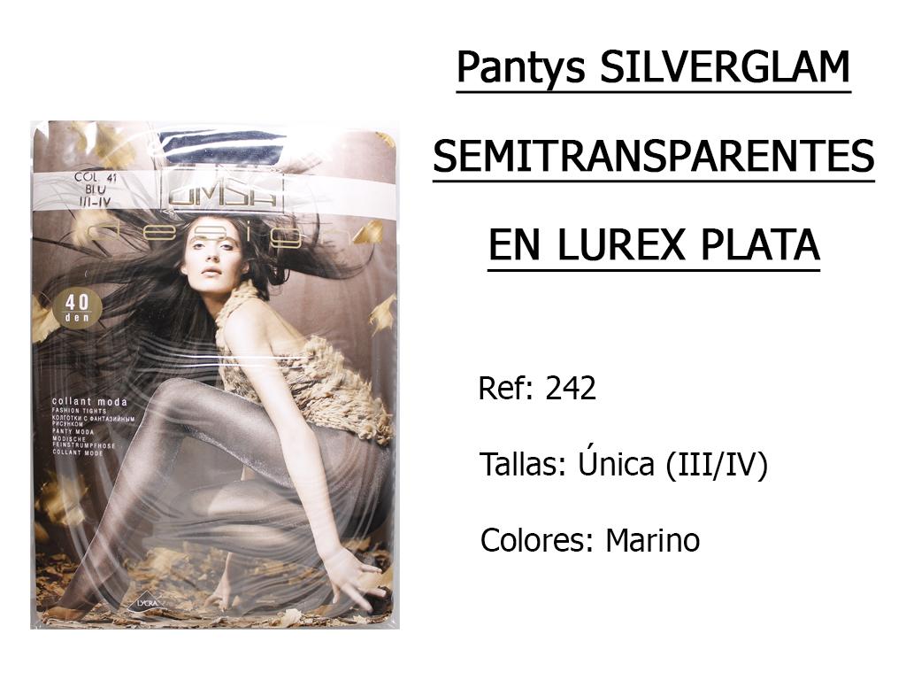 PANTYS silverglam semitransparentes en lurex plata 242