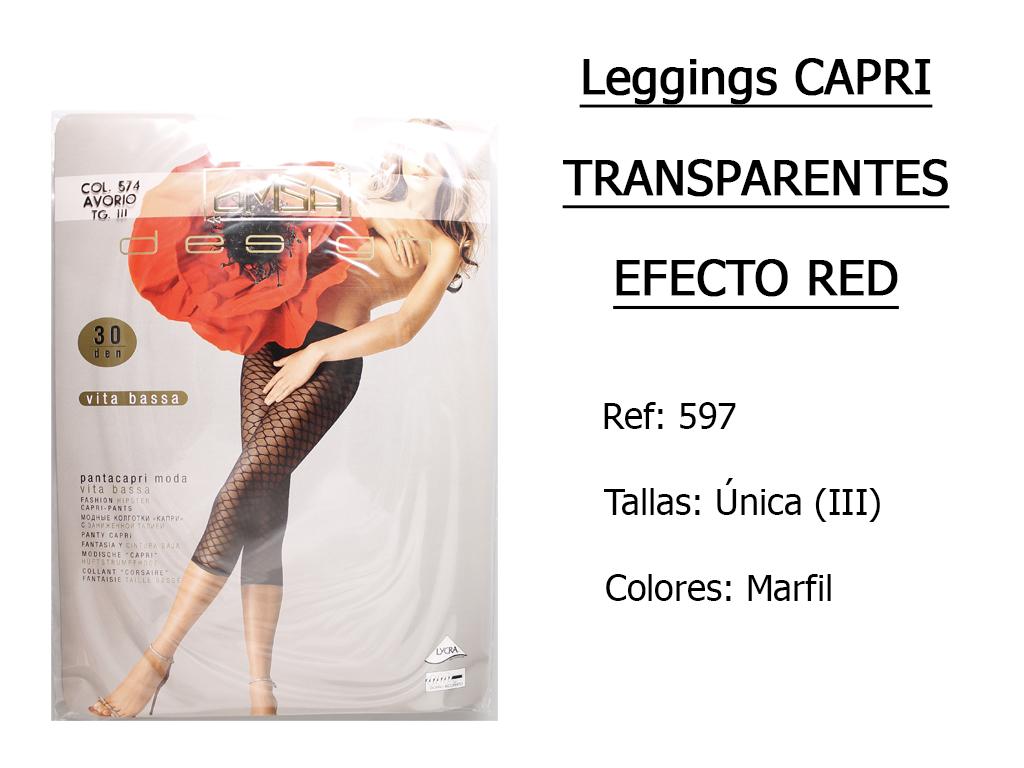 LEGGINGS capri transparentes efecto red 597