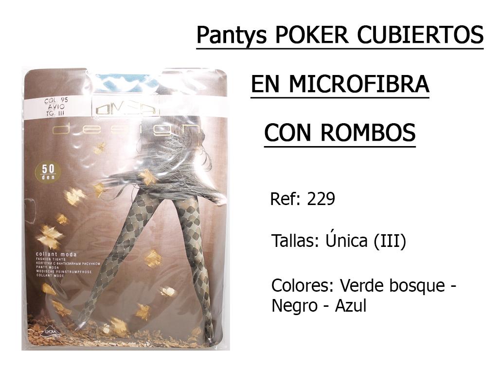 PANTYS poker cubiertos en microfibra con rombos 229