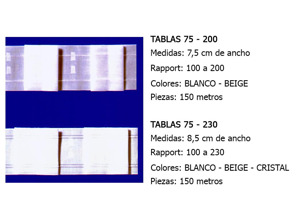 CINTA DE CORTINA TABLAS