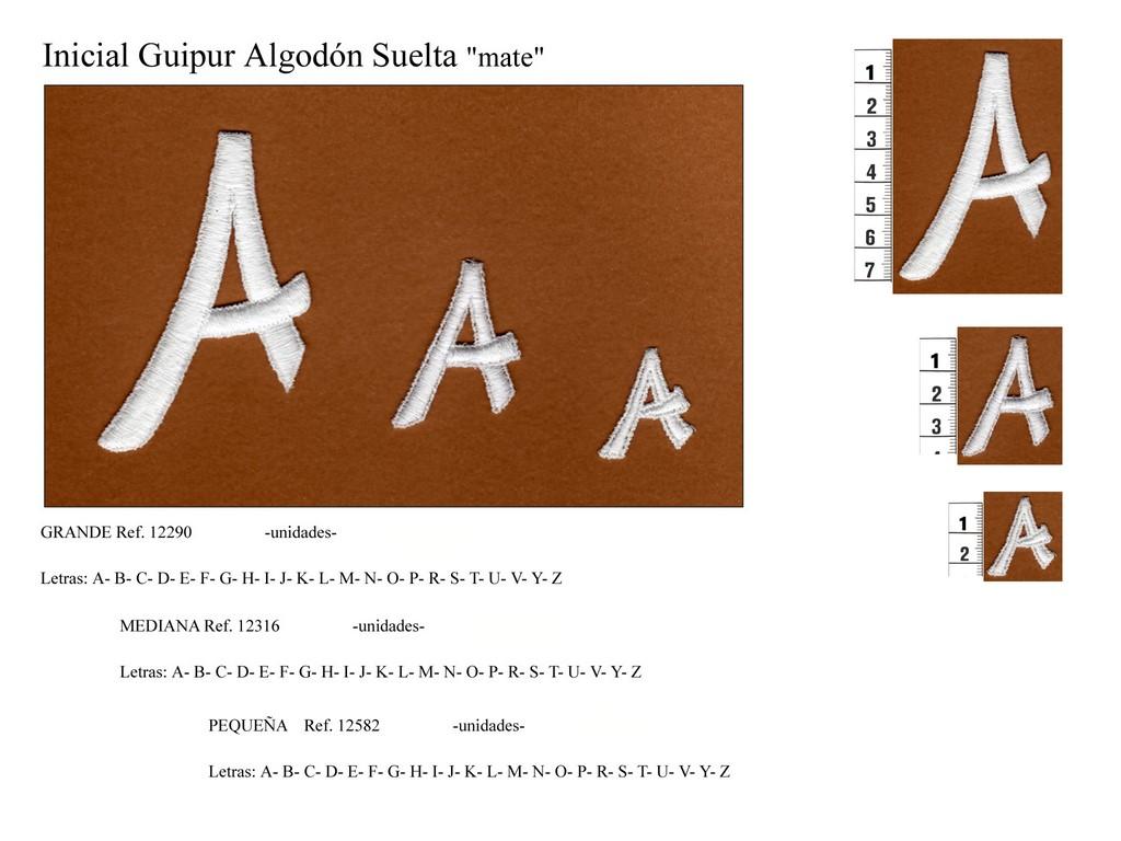 Inicial guipur suelta - 12290 - 12316 - 12582