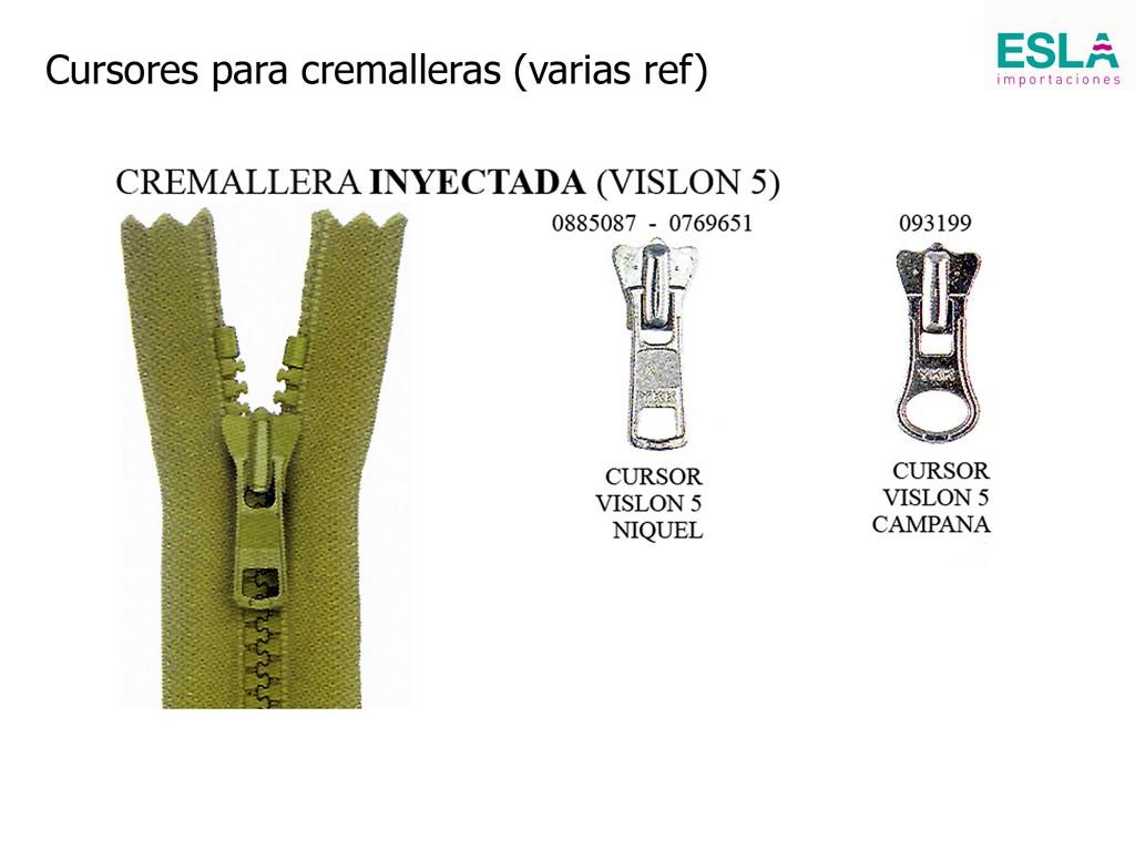 Cursores para cremallera inyectada vislon 5  -3 referencias-