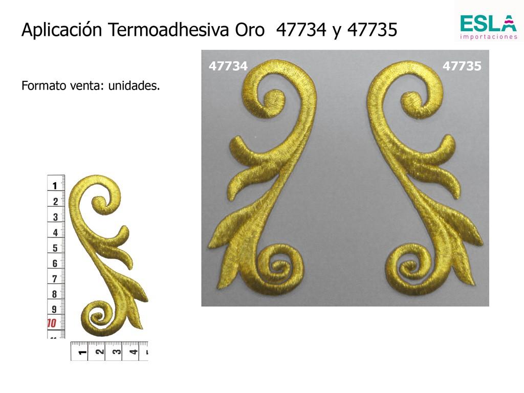 Aplicación termoadhesiva Oro 47734 y 47735