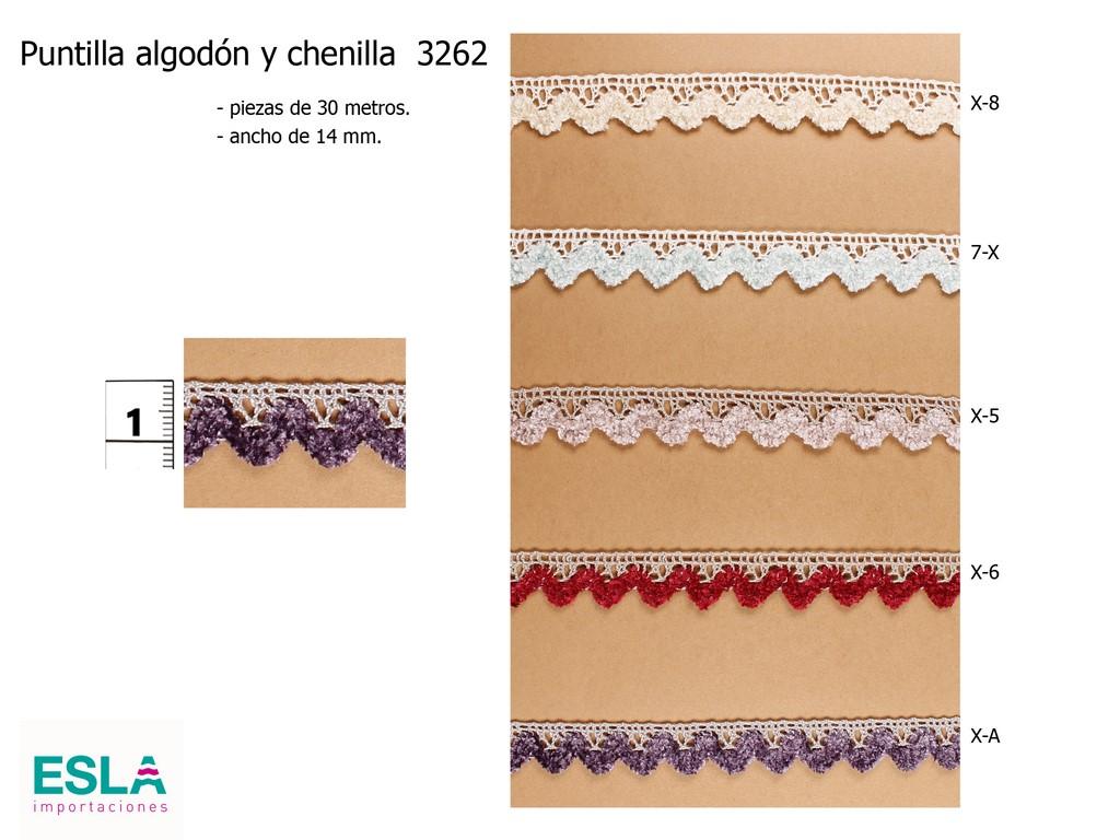 Puntilla hilo algodon y chenilla 3262