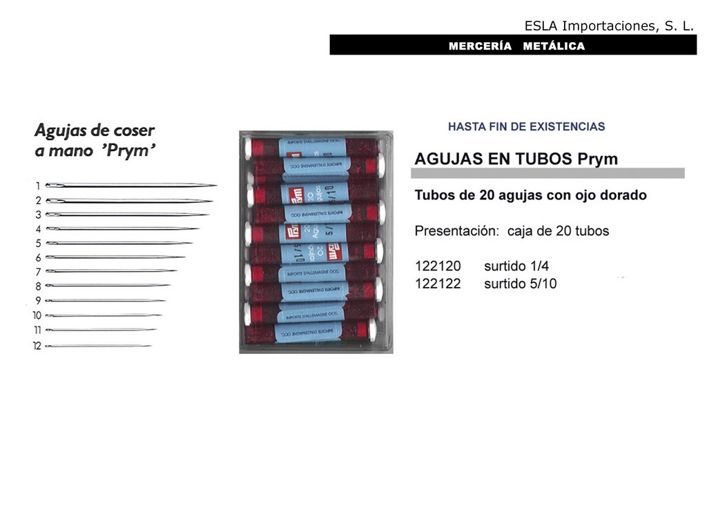 Agujas en tubos PRYM 122120 y 122122