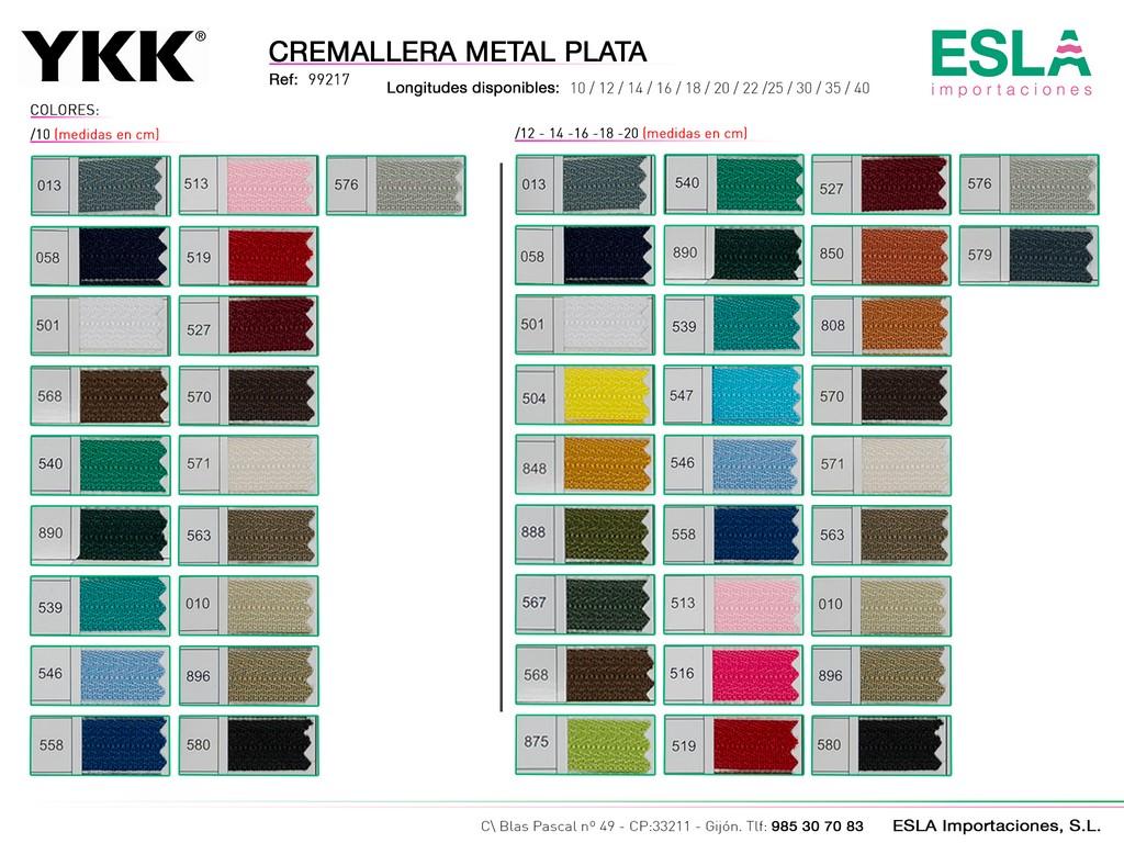 CREMALLERA METAL PLATA 99217 DE 10-20-CM