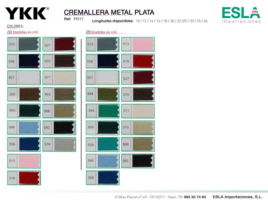 CREMALLERA METAL PLATA 99217 DE 22-25-CM